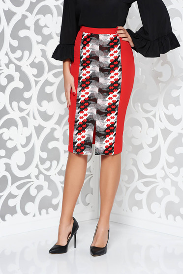 StarShinerS red elegant pencil high waisted skirt slightly elastic fabric front embroidery