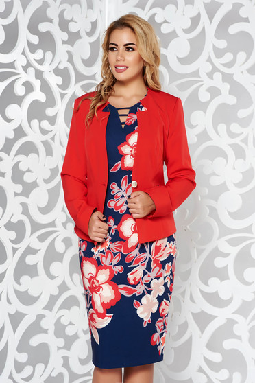 Red lady set office nonelastic fabric with inside lining with floral prints