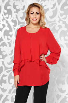 Red elegant with easy cut women`s blouse voile fabric large sleeves