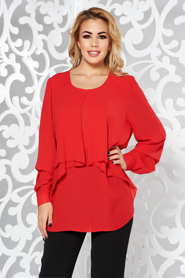 Red women`s blouse elegant with easy cut voile fabric large sleeves