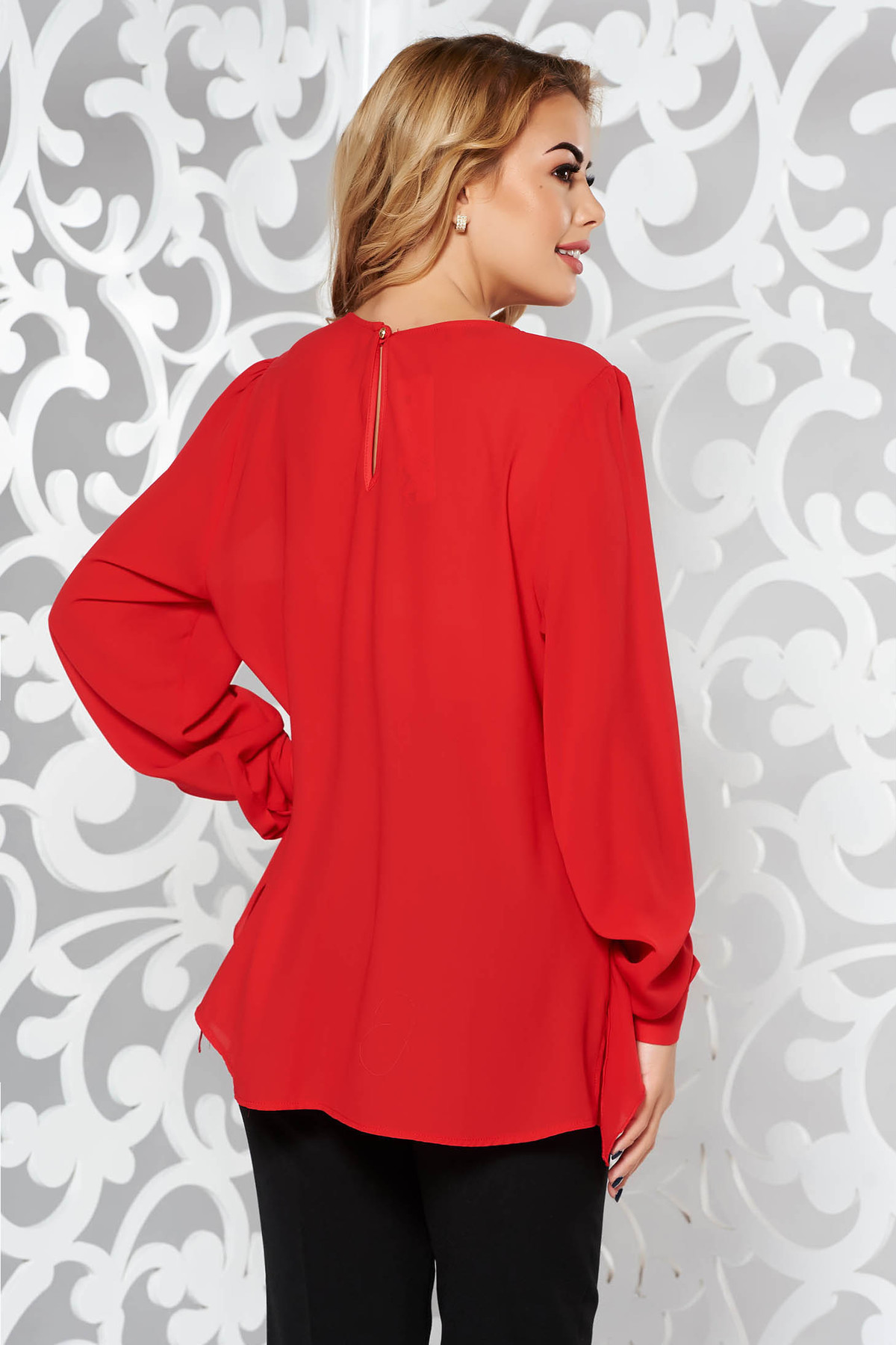 Bluza dama rosie eleganta cu croi larg din voal cu maneci largi