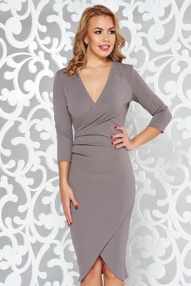 StarShinerS grey office wrap around dress from elastic fabric with tented cut with v-neckline