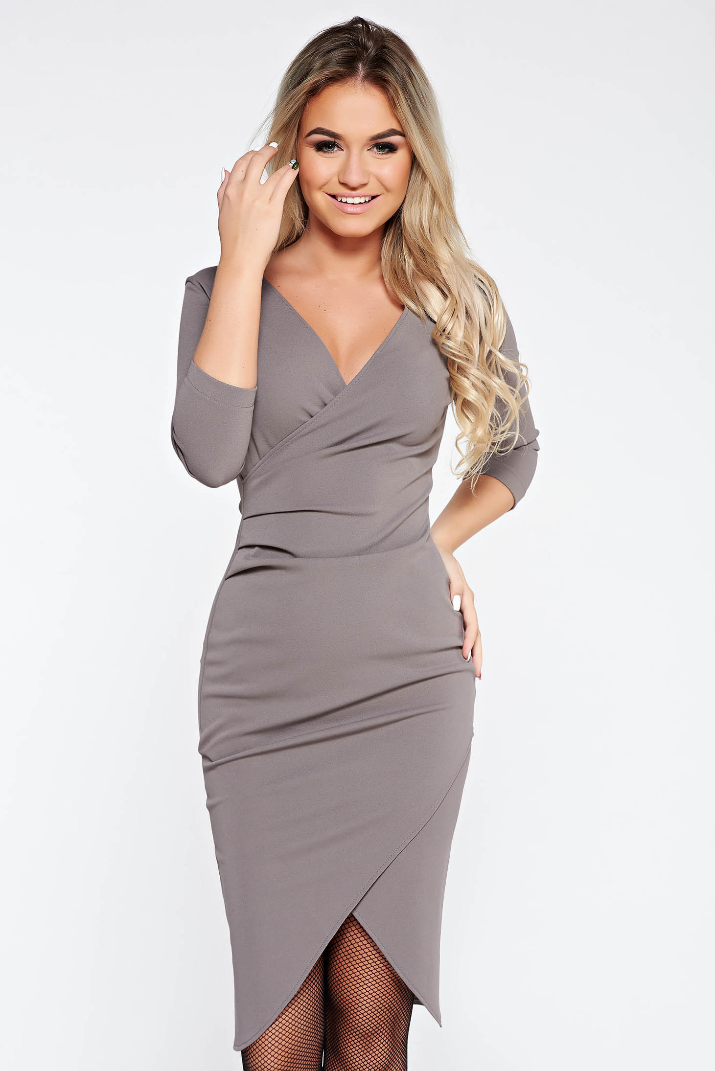 StarShinerS grey dress office wrap around from elastic fabric with tented cut with v-neckline