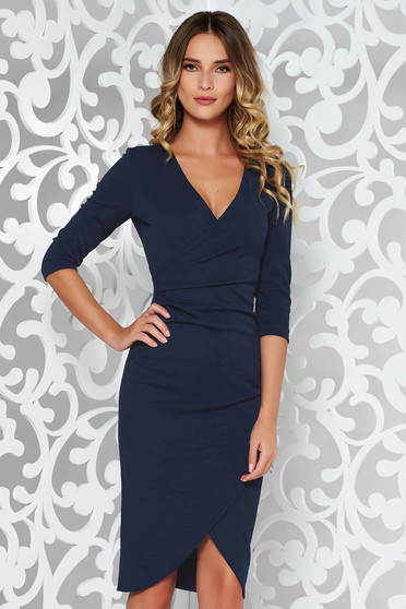 StarShinerS darkblue dress office wrap around from elastic fabric with tented cut with v-neckline