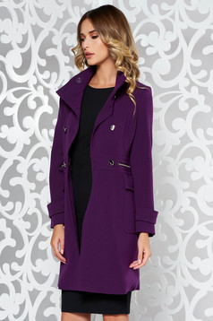Purple basic coat from thick fabric soft fabric arched cut with pockets