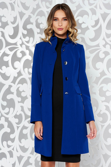 Blue coat basic arched cut with inside lining with pockets from thick fabric