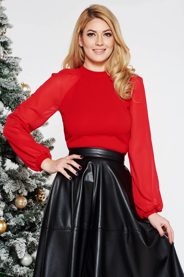 StarShinerS red women`s blouse elegant from elastic fabric long sleeved