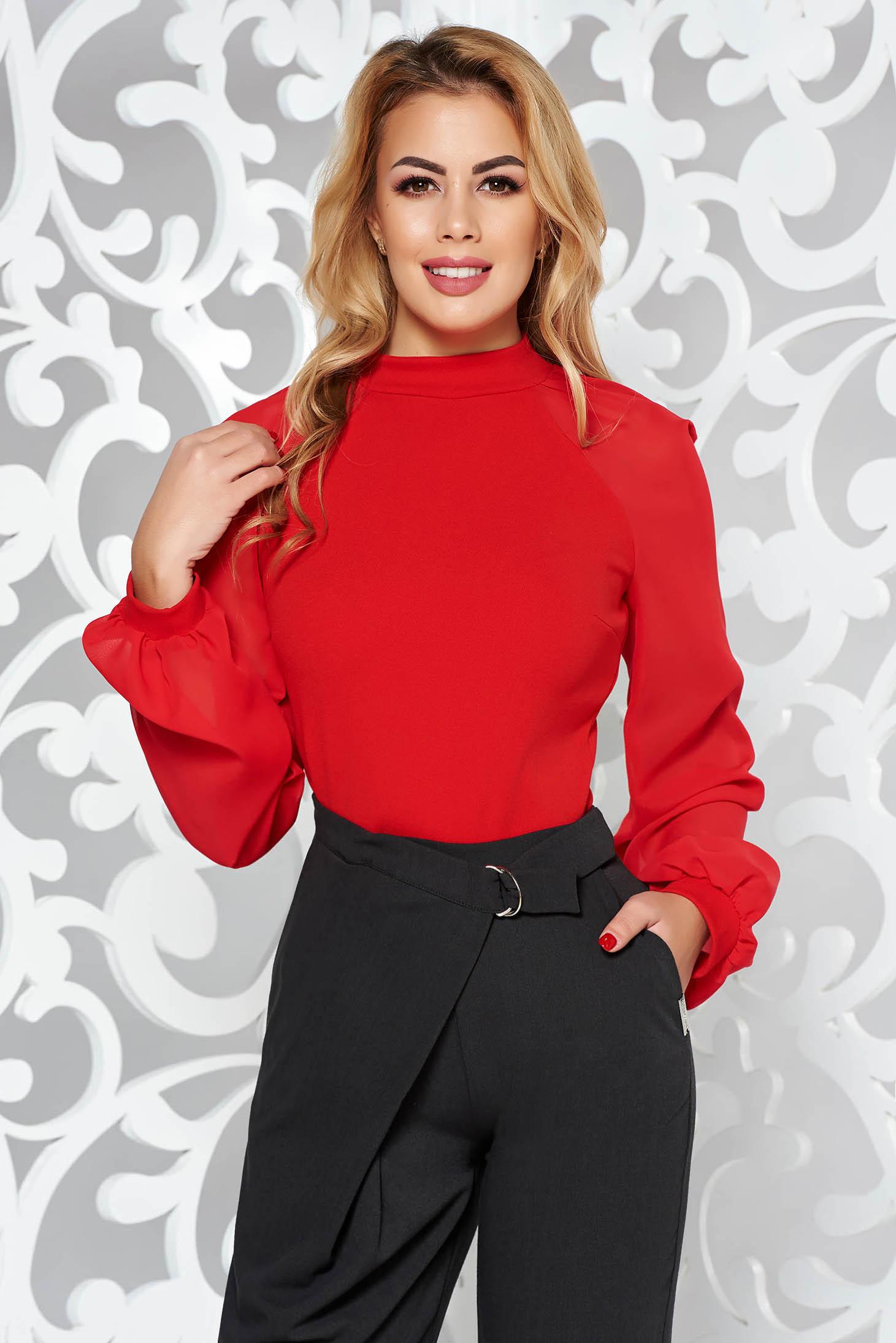 Piros StarShinerS elegáns női blúz rugalmas anyag hosszú ujjak
