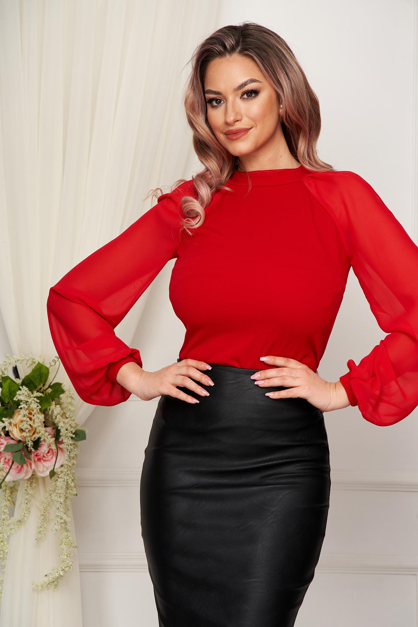 Piros StarShinerS elegáns női blúz rugalmas anyagból hosszú ujjakkal