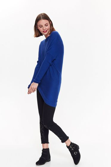 Top Secret blue casual asymmetrical flared sweater knitted fabric