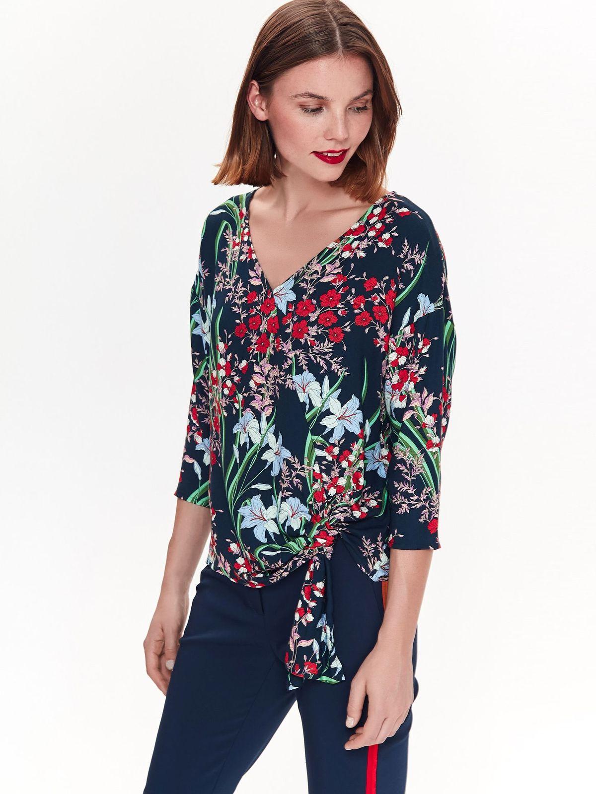 Top Secret darkblue flared women`s blouse nonelastic fabric with v-neckline
