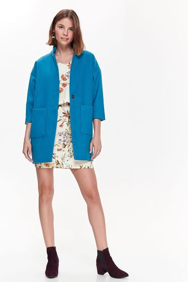 Top Secret blue coat casual with straight cut from thick fabric with pockets