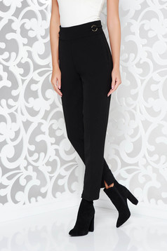 PrettyGirl black trousers office slightly elastic fabric with pockets high waisted conical