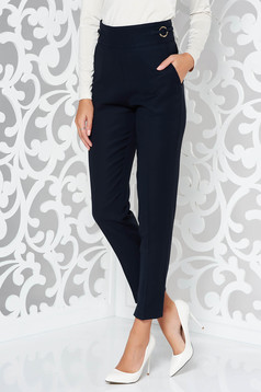 PrettyGirl darkblue office conical trousers slightly elastic fabric high waisted with pockets