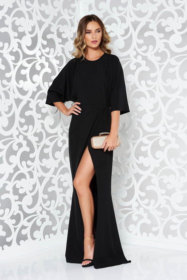 Black dress occasional slightly elastic fabric soft fabric with cut back