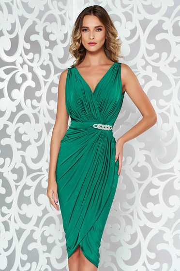 Green dress occasional wrap around with embellished accessories with tented cut thin fabric