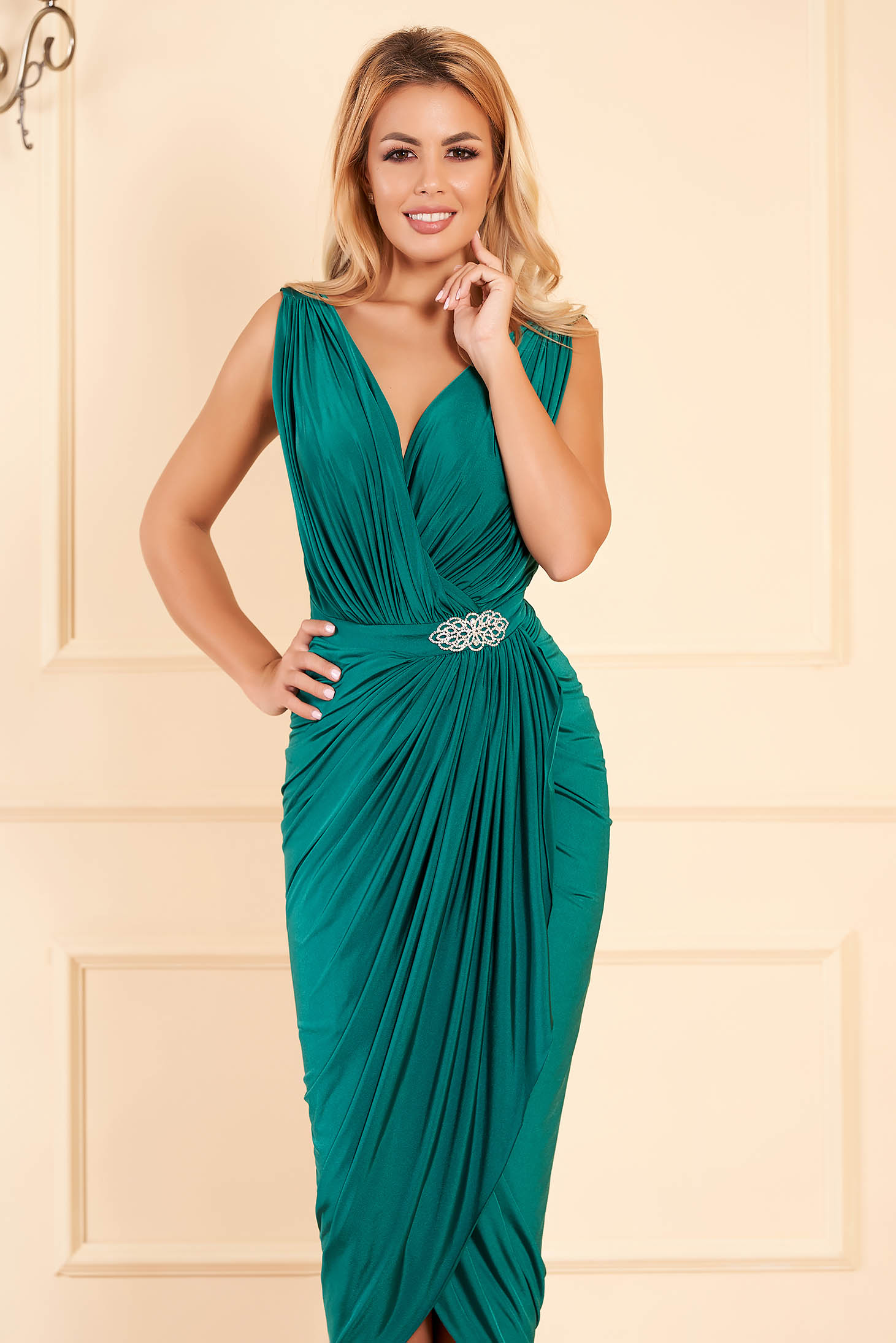 Green occasional wrap around dress with embellished accessories with tented cut thin fabric