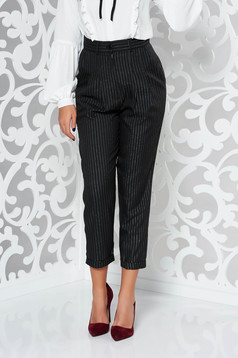 StarShinerS black trousers office high waisted with lame thread with pockets conical non-flexible thin fabric