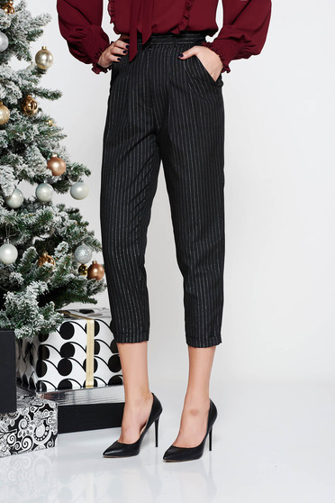 StarShinerS black office high waisted trousers with lame thread with pockets conical non-flexible thin fabric