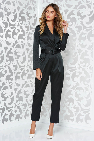StarShinerS black elegant jumpsuit from satin fabric texture with v-neckline accessorized with tied waistband