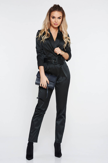 231effc5dedf StarShinerS black elegant jumpsuit from satin fabric texture with  v-neckline accessorized with tied waistband