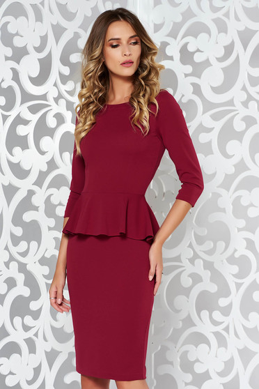 StarShinerS burgundy dress office pencil from elastic fabric with frilled waist midi