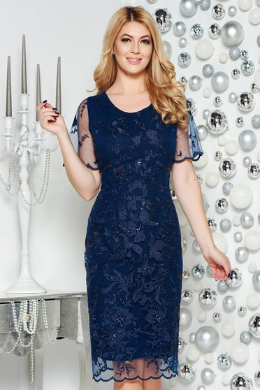 Darkblue occasional laced pencil dress with sequin embellished details