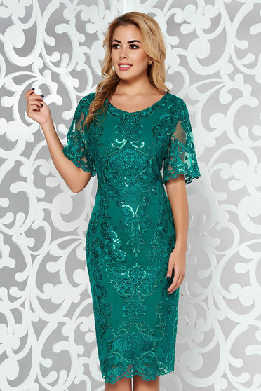 Darkgreen dress occasional pencil from laced fabric with inside lining with sequin embellished details midi