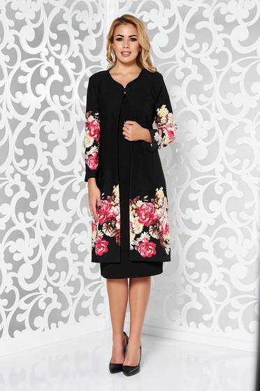 Black lady set elegant slightly elastic fabric with floral prints