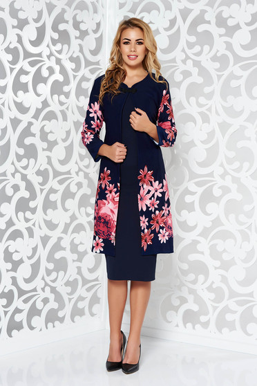 Darkblue lady set elegant slightly elastic fabric with floral prints