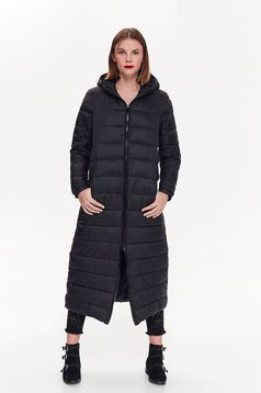 Top Secret black casual from slicker jacket with undetachable hood