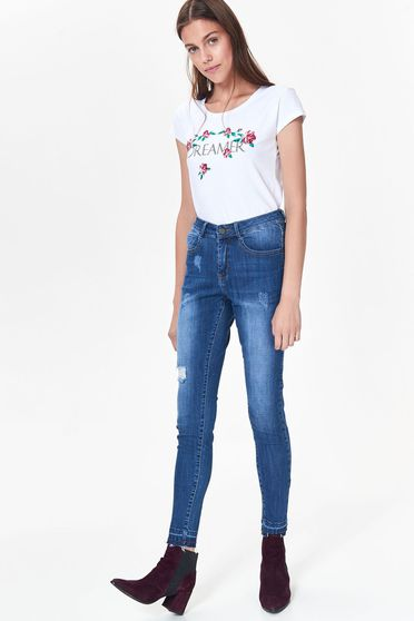 Top Secret blue casual skinny jeans with medium waist slightly elastic cotton fabric with pockets with ruptures