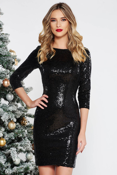 StarShinerS black occasional dress with sequins with inside lining with tented cut