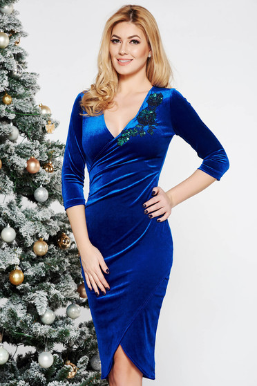 StarShinerS blue dress occasional with tented cut velvet with sequin embellished details wrap around