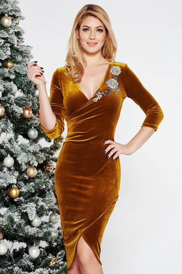 StarShinerS mustard dress occasional with tented cut velvet with sequin embellished details wrap around