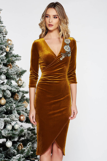 StarShinerS mustard occasional velvet dress with tented cut with sequin embellished details wrap around