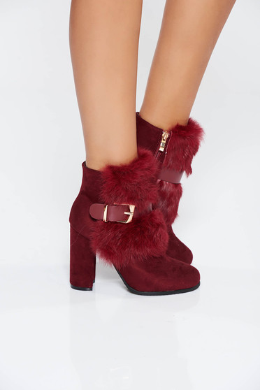 Burgundy casual ankle boots buckle accessory with faux fur details