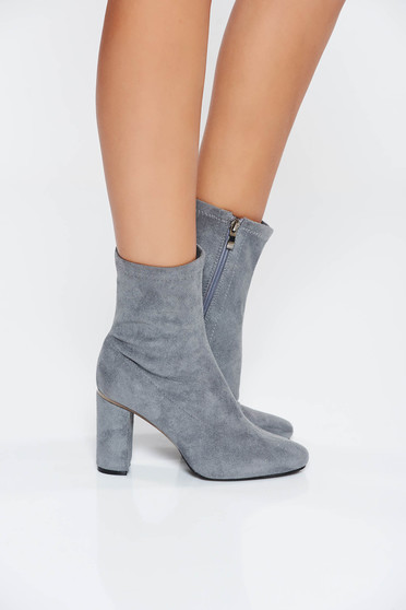 Grey casual ankle boots