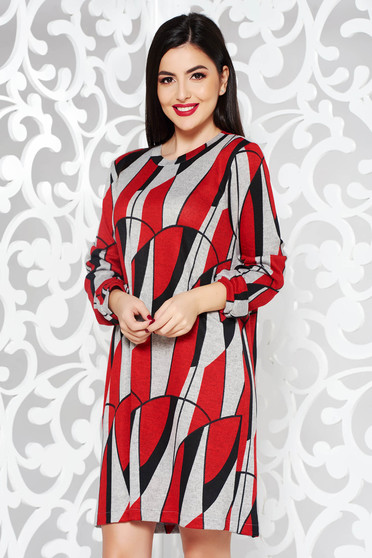 StarShinerS red daily with easy cut dress knitted fabric