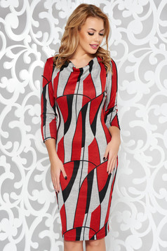 StarShinerS red daily dress knitted fabric with tented cut with 3/4 sleeves