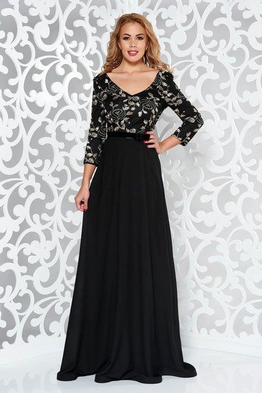 StarShinerS black dress occasional voile fabric with inside lining with net accessory embroidered