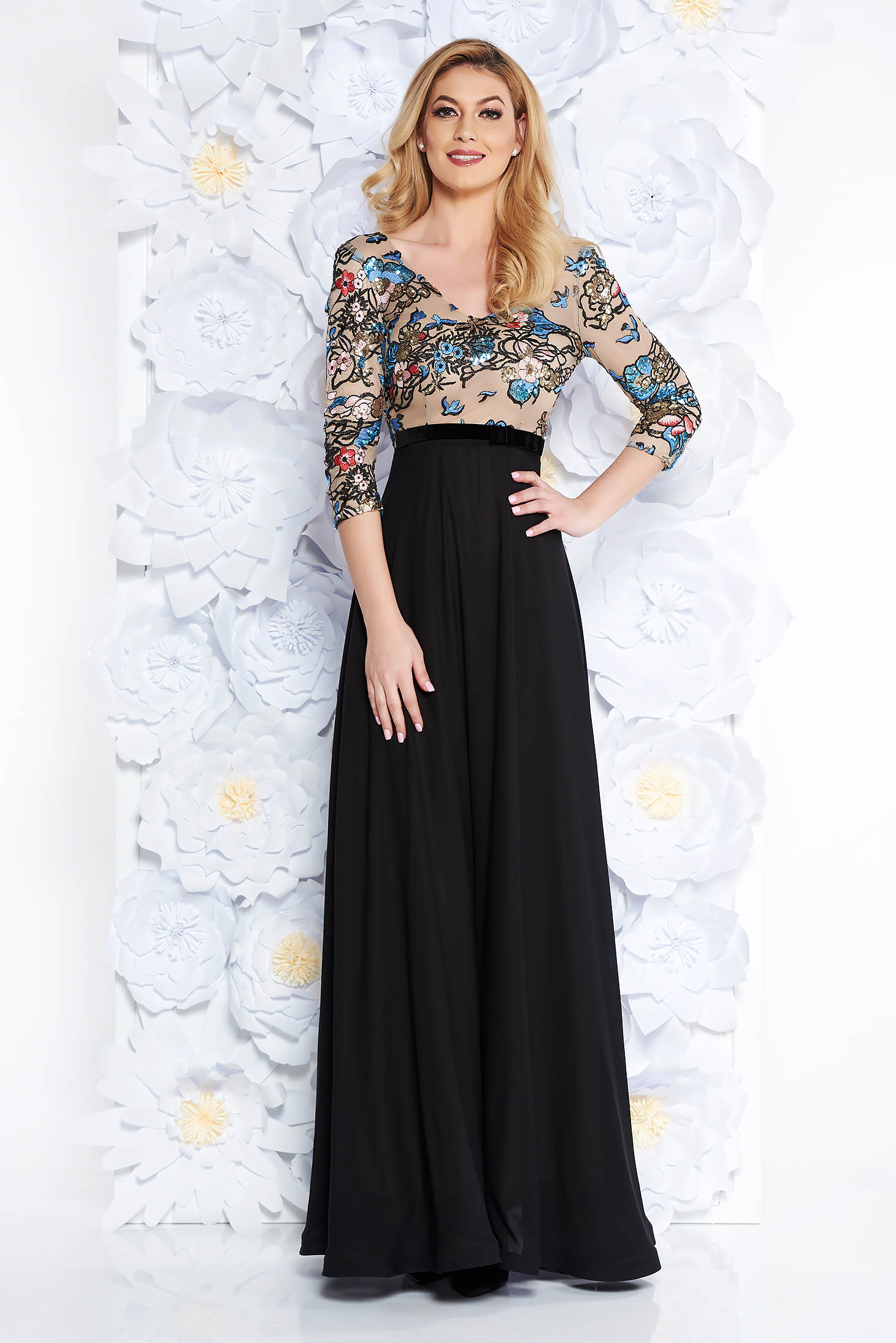 StarShinerS black occasional cloche dress from veil fabric with sequin embellished details
