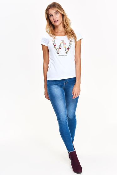 Top Secret white t-shirt casual flared nonelastic cotton with print details