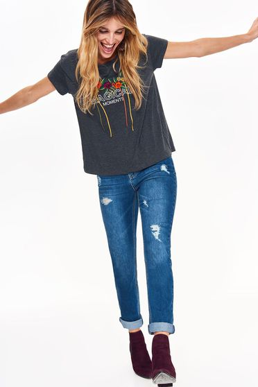 Top Secret darkgrey t-shirt flared nonelastic cotton with print details casual