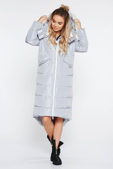 Top Secret lightgrey casual from slicker long jacket with undetachable hood