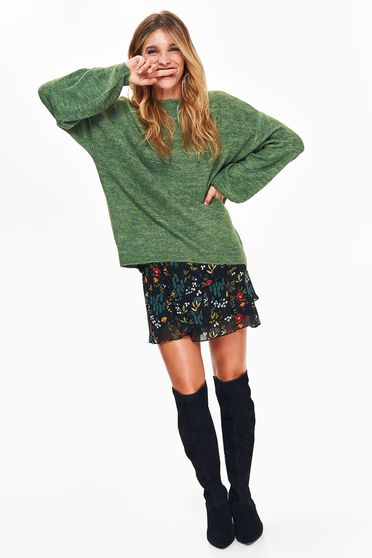 Top Secret green casual flared sweater long sleeved knitted fabric