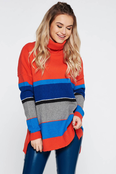 Top Secret orange casual flared sweater knitted fabric
