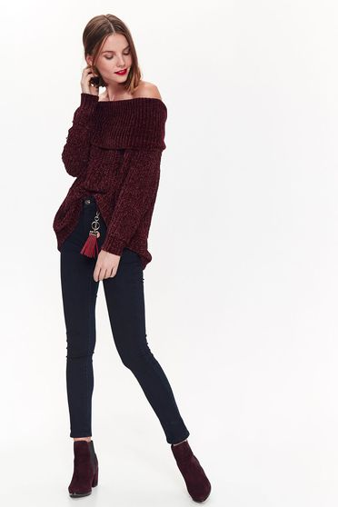 Top Secret purple casual flared sweater knitted fabric on the shoulders