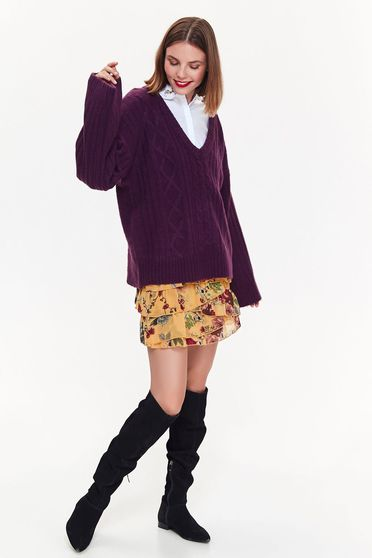 Top Secret purple sweater casual flared knitted fabric with v-neckline