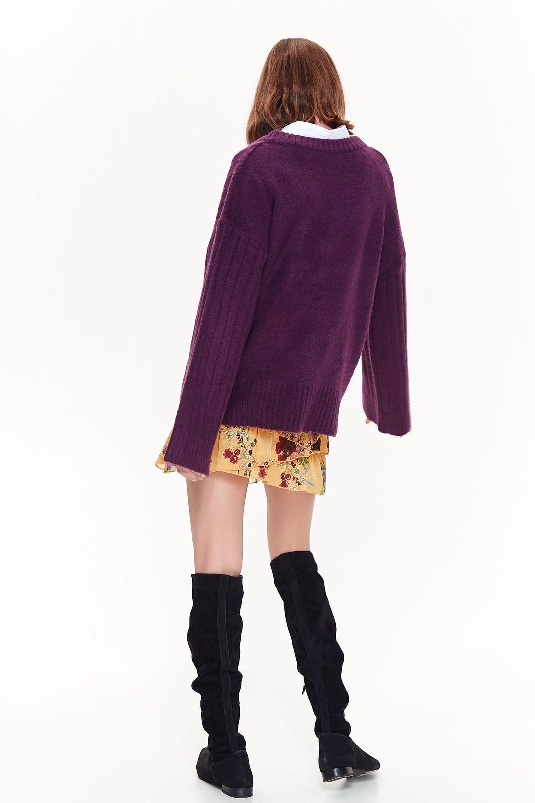 Pulover Top Secret mov casual cu croi larg din material tricotat cu decolteu in v